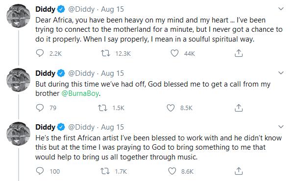 Diddy Tweet On Burna Boy 1