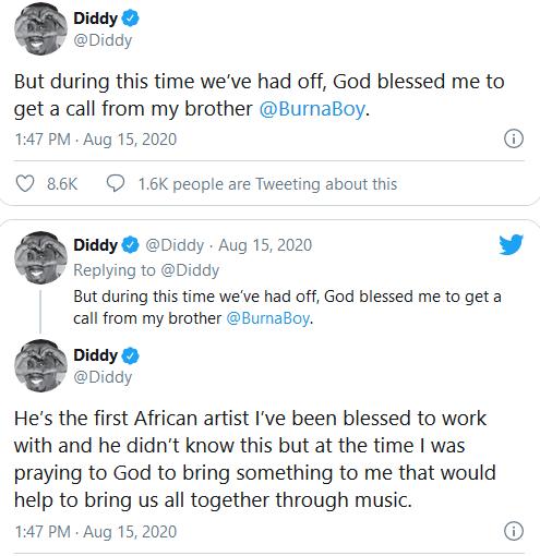 Diddy-Tweet On Burna Boy 2