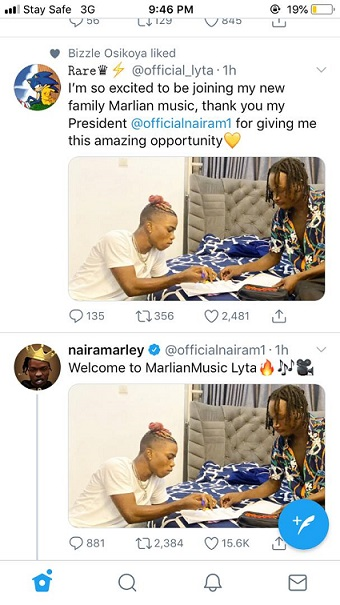 Naira Marley and Lyta Announce Signing on Twitter